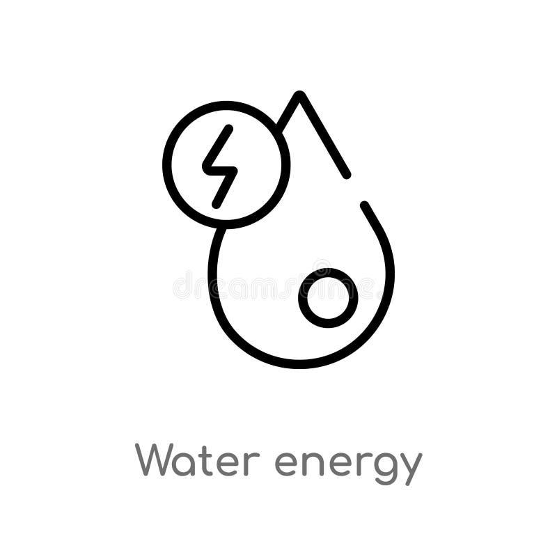 ενεργειακό διανυσματικό εικονίδιο νερού περιλήψεων απομονωμένη μαύρη απλή απεικόνιση στοιχείων γραμμών από την έννοια οικολογίας  ελεύθερη απεικόνιση δικαιώματος