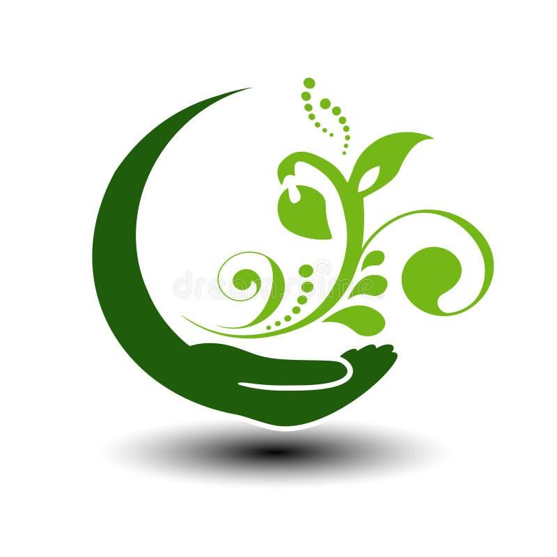 ενεργειακό πράσινο σύμβο& Κυκλικό φυσικό στοιχείο Χέρι και λουλούδι με το φύλλο Εικονίδιο φύσης απεικόνιση αποθεμάτων
