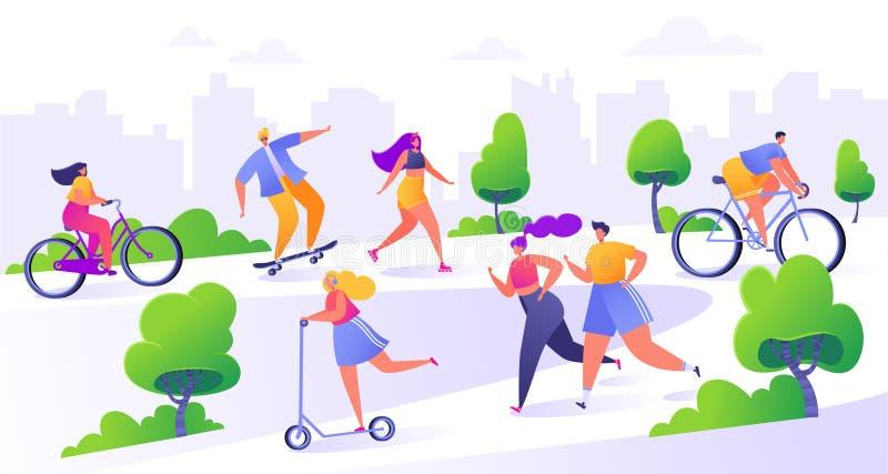 Ενεργοί άνθρωποι στο πάρκο Καλοκαίρι υπαίθριο ελεύθερη απεικόνιση δικαιώματος