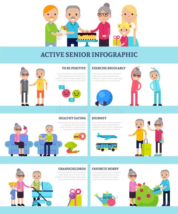 Ενεργοί ανώτεροι άνθρωποι επίπεδο Infographics ελεύθερη απεικόνιση δικαιώματος