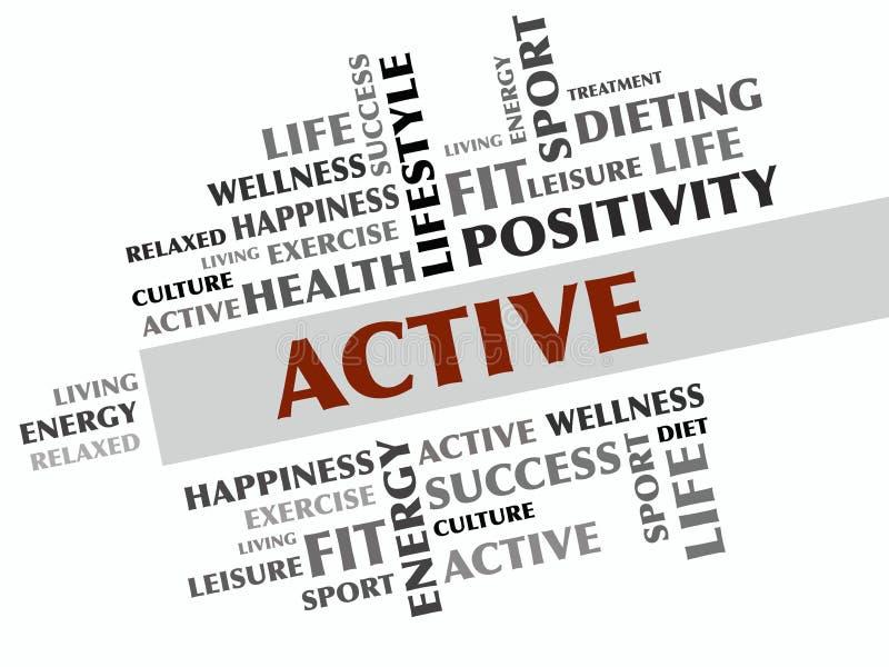 ΕΝΕΡΓΟ σύννεφο λέξης, ικανότητα, αθλητισμός, έννοια υγείας στοκ εικόνες