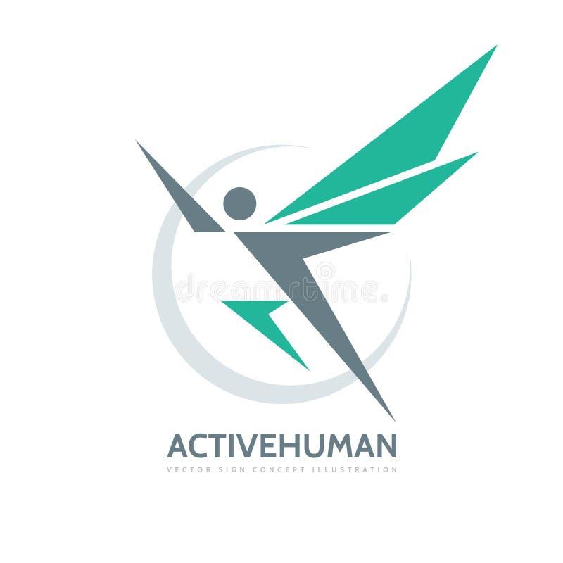 Ενεργός ανθρώπινος χαρακτήρας - διανυσματική απεικόνιση έννοιας προτύπων επιχειρησιακών λογότυπων Αφηρημένο άτομο με τα φτερά δημ διανυσματική απεικόνιση