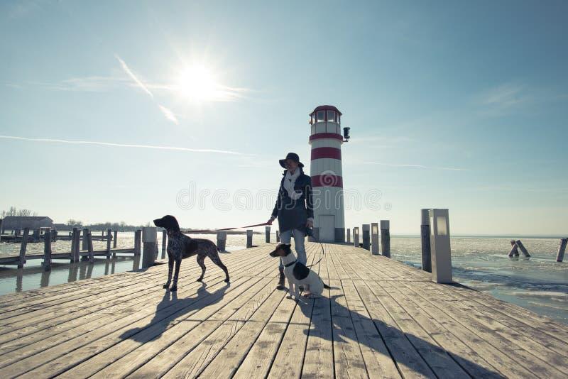 Ενεργός γυναίκα τρόπου ζωής με την τοποθέτηση σκυλιών υπαίθρια στοκ φωτογραφία με δικαίωμα ελεύθερης χρήσης