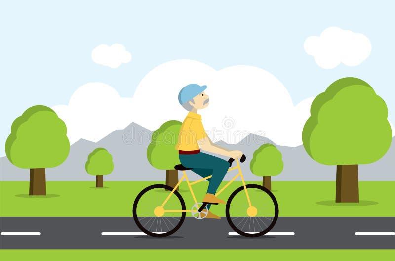 Ενεργός πρεσβύτερος στο ποδήλατο Τουρίστας μεγάλης ηλικίας απεικόνιση αποθεμάτων