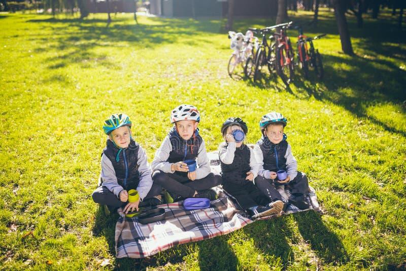 Ενεργός φύση οικογενειακών διακοπών θέματος τα μικρά μικρά παιδιά ανθρώπων ομάδας τρεις αδελφοί και αδελφή κάθονται onblanket πλη στοκ εικόνα με δικαίωμα ελεύθερης χρήσης