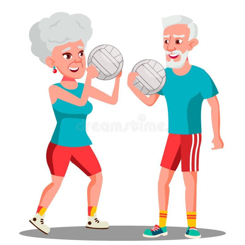 Ενεργό ηλικιωμένο διάνυσμα σφαιρών ανδρών και γυναικών παίζοντας απομονωμένη ωθώντας s κουμπιών γυναίκα έναρξης χεριών απεικόνιση διανυσματική απεικόνιση