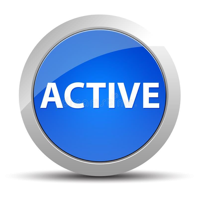 Ενεργό μπλε στρογγυλό κουμπί ελεύθερη απεικόνιση δικαιώματος