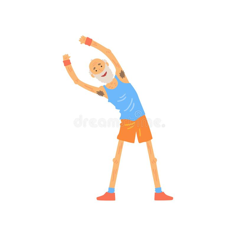 Ενεργό παλαιό τέντωμα ατόμων πριν από την κατάρτιση γυμναστικής Ηλικιωμένος χαρακτήρας που κάνει τη δευτερεύουσα άσκηση κάμψεων Γ διανυσματική απεικόνιση