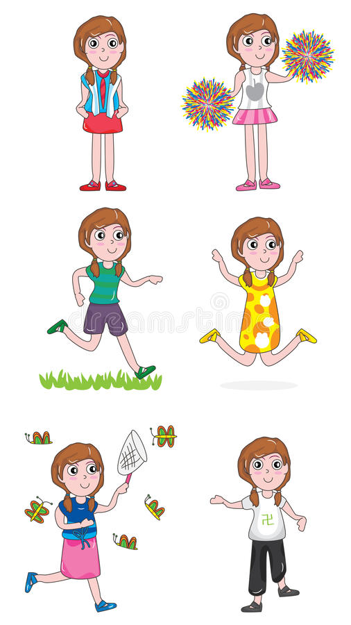 ενεργό eps σύνολο κοριτσιών διανυσματική απεικόνιση