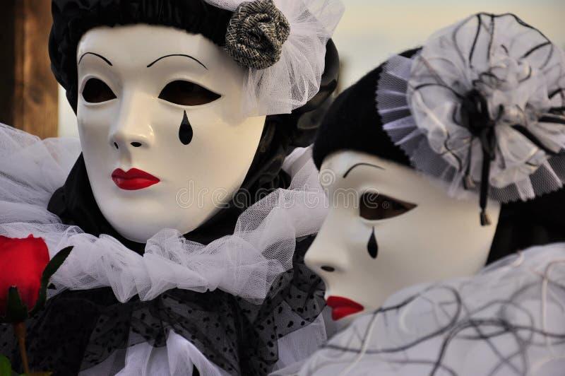 Ενετικές μάσκες Pierrot στοκ φωτογραφία με δικαίωμα ελεύθερης χρήσης
