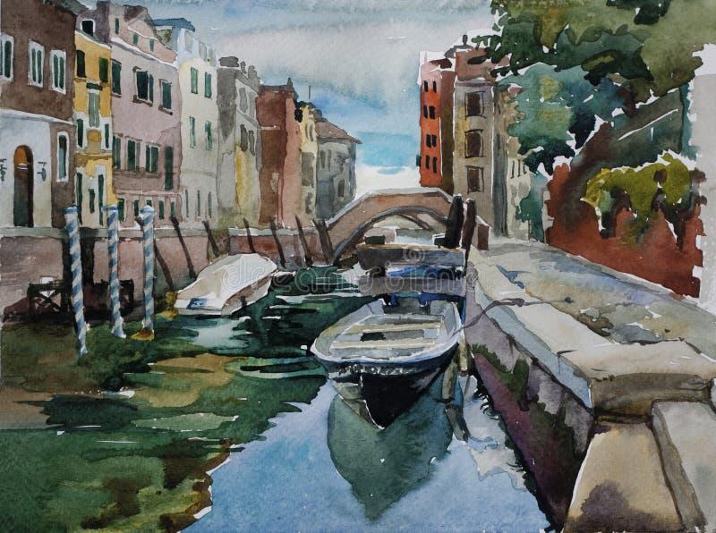 Ενετικό κανάλι με σταθμευμένος στις βάρκες πεζοδρομίων την αρχιτεκτονική waterc ελεύθερη απεικόνιση δικαιώματος