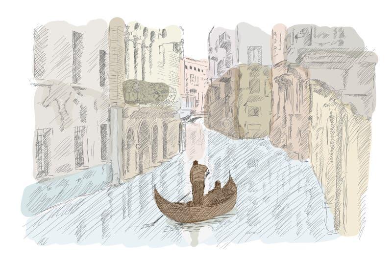 Ενετικό τοπίο με μια βάρκα ελεύθερη απεικόνιση δικαιώματος