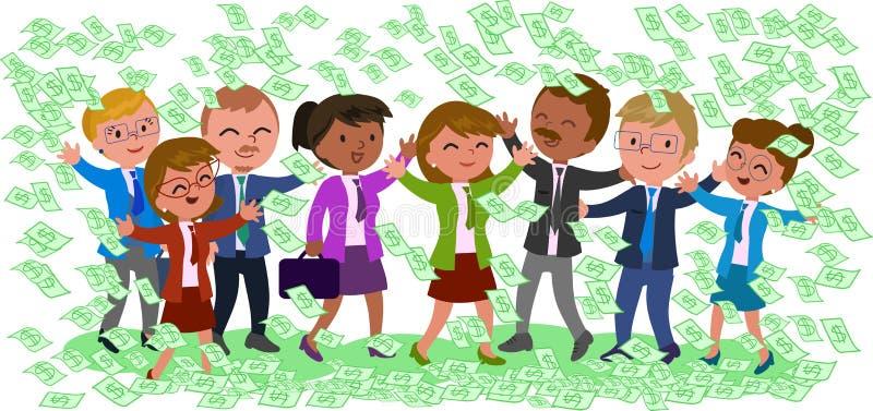 Ενθουσιώδεις επιχειρηματίες με τα χρήματα διανυσματική απεικόνιση