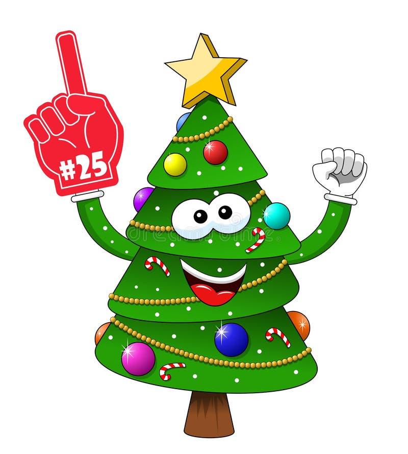 Ενθουσιώδης αριθμός 25 χριστουγεννιάτικων δέντρων Χριστουγέννων κινούμενων σχεδίων ανεμιστήρας υποστηρικτών γαντιών που απομονώνε απεικόνιση αποθεμάτων