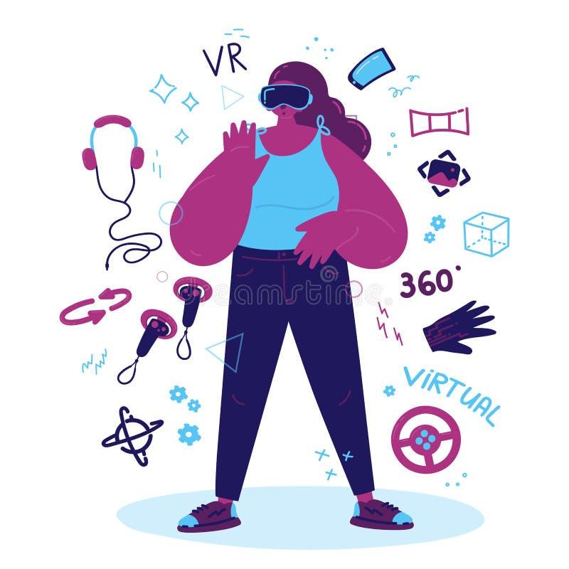 Ενθουσιώδης γυναίκα που χρησιμοποιεί μια εικονική πραγματικότητα διανυσματική απεικόνιση