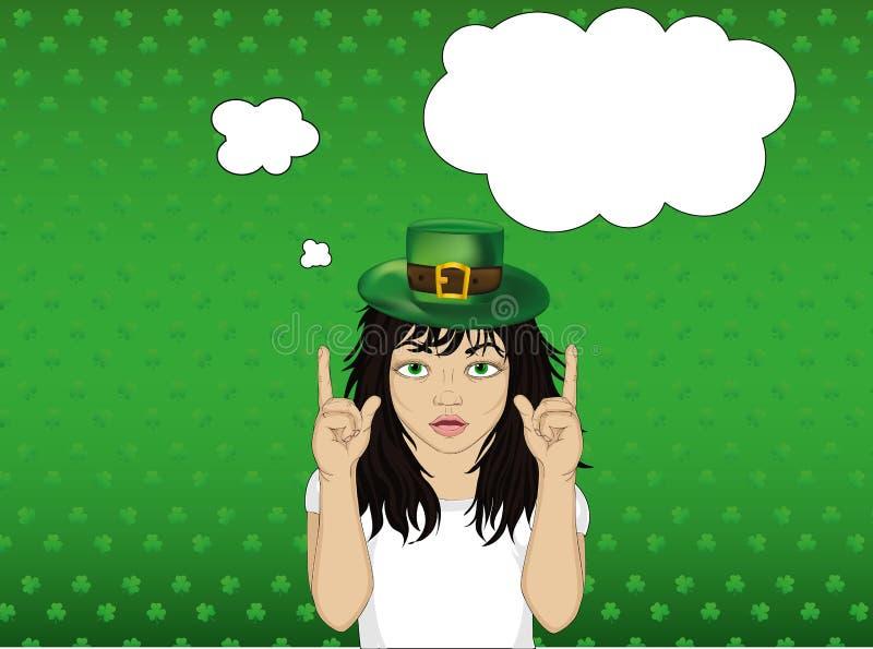 Ενθουσιώδες κορίτσι στο καπέλο για τις διακοπές ημέρας του ST Πάτρικ ` s απεικόνιση αποθεμάτων