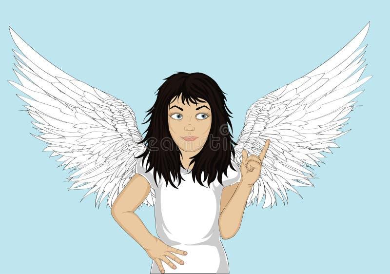Ενθουσιώδης άγγελος κοριτσιών με τα όμορφα φτερά που χαμογελούν και που παρουσιάζουν ελεύθερη απεικόνιση δικαιώματος