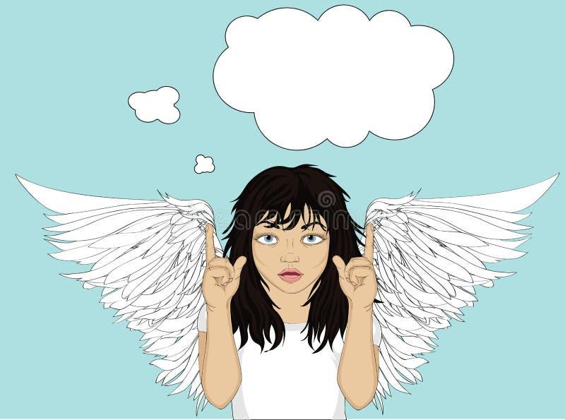 Ενθουσιώδης άγγελος κοριτσιών με τα όμορφα φτερά που χαμογελούν και που παρουσιάζουν διανυσματική απεικόνιση