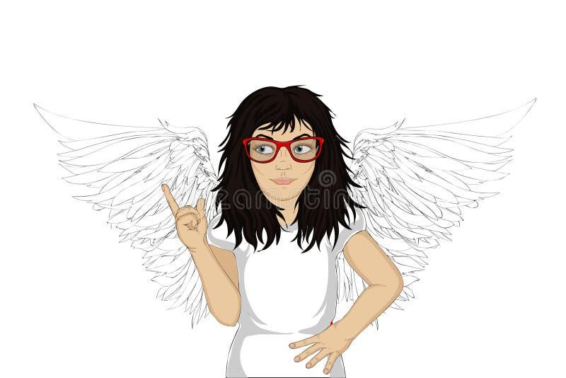 Ενθουσιώδης άγγελος κοριτσιών με τα όμορφα φτερά που χαμογελούν και που παρουσιάζουν απεικόνιση αποθεμάτων