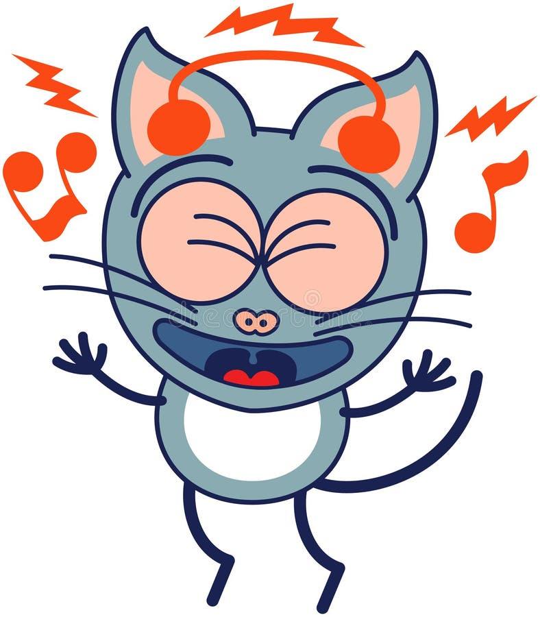 Ενθουσιώδης γκρίζα γάτα με τα ακουστικά που ακούνε τη μουσική διανυσματική απεικόνιση