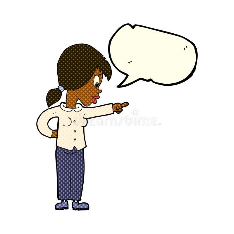 ενθουσιώδης γυναίκα κινούμενων σχεδίων που δείχνει με τη λεκτική φυσαλίδα ελεύθερη απεικόνιση δικαιώματος