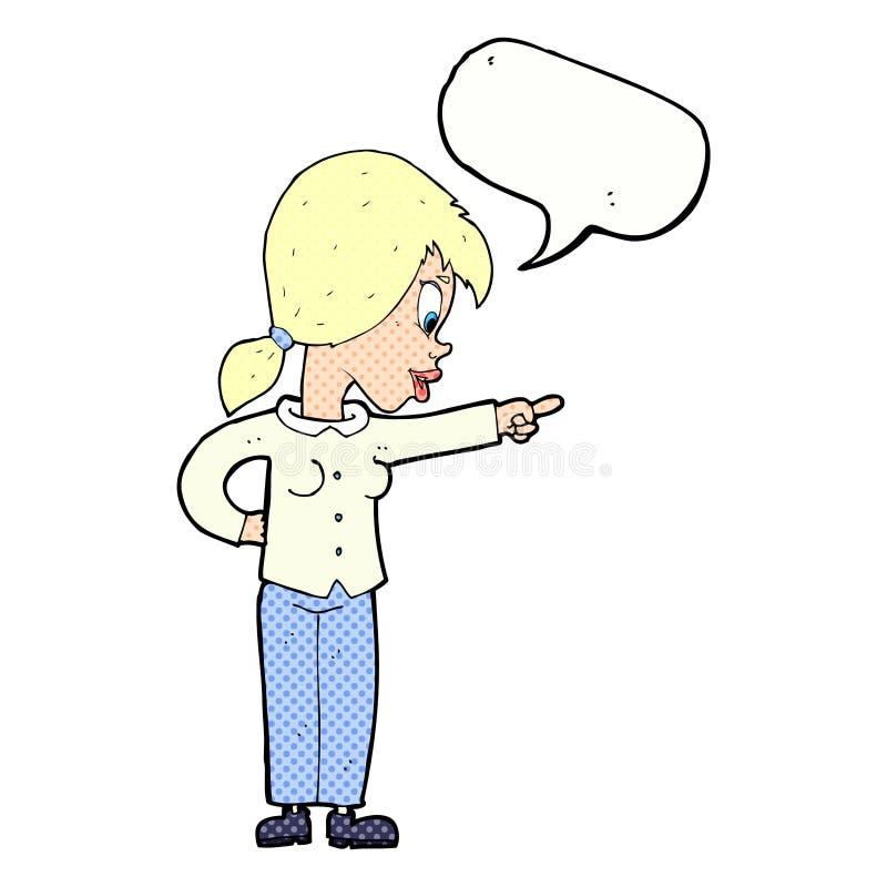 ενθουσιώδης γυναίκα κινούμενων σχεδίων που δείχνει με τη λεκτική φυσαλίδα διανυσματική απεικόνιση