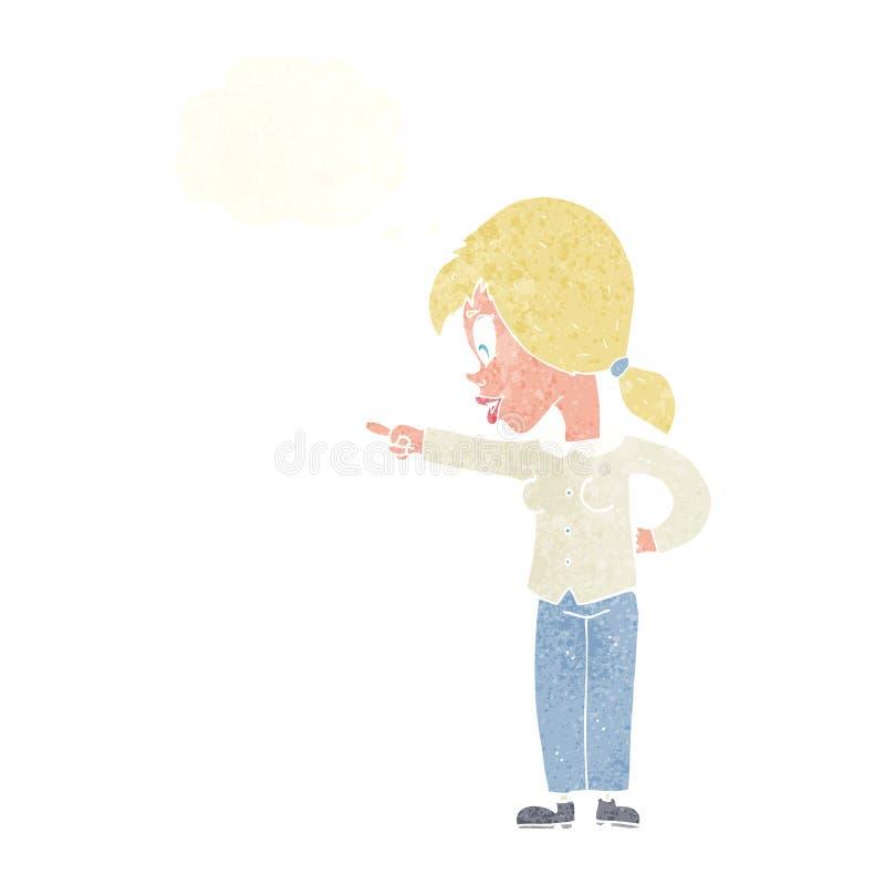 ενθουσιώδης γυναίκα κινούμενων σχεδίων που δείχνει με τη σκεπτόμενη φυσαλίδα διανυσματική απεικόνιση
