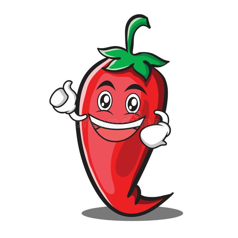 Ενθουσιώδη κόκκινα κινούμενα σχέδια χαρακτήρα τσίλι απεικόνιση αποθεμάτων