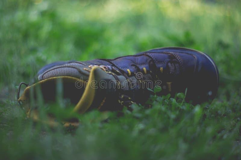 Ενιαία απομονωμένη μπότα στο έδαφος σε ένα πάρκο στοκ φωτογραφίες