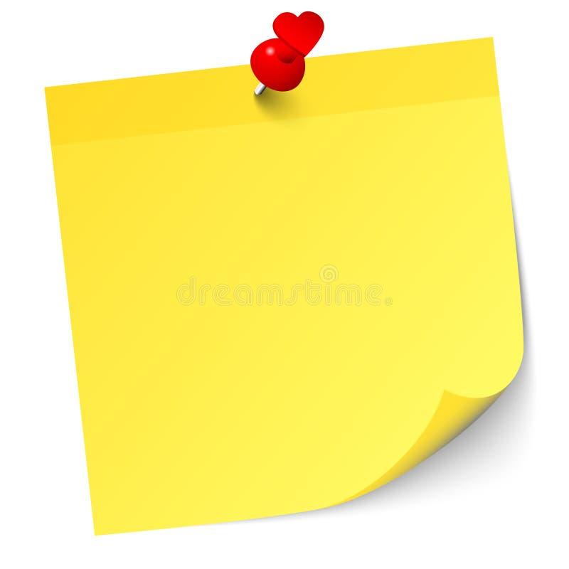 Ενιαία κίτρινη κολλώδης σημείωση με την κόκκινες καρφίτσα και τη σκιά καρδιών διανυσματική απεικόνιση