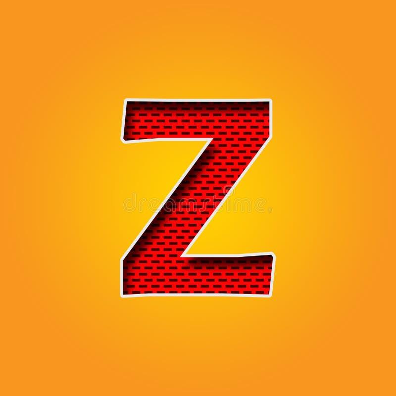 Ενιαία πηγή χαρακτήρα Ζ στο πορτοκαλί και κίτρινο αλφάβητο χρώματος διανυσματική απεικόνιση