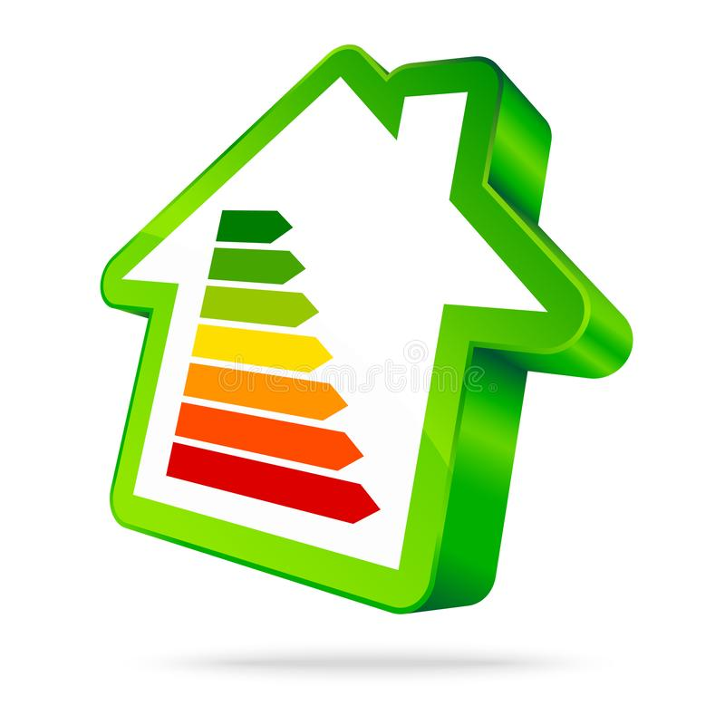 Ενιαία πράσινη ενέργεια επτά εικονιδίων σπιτιών φραγμοί πράσινοι διανυσματική απεικόνιση