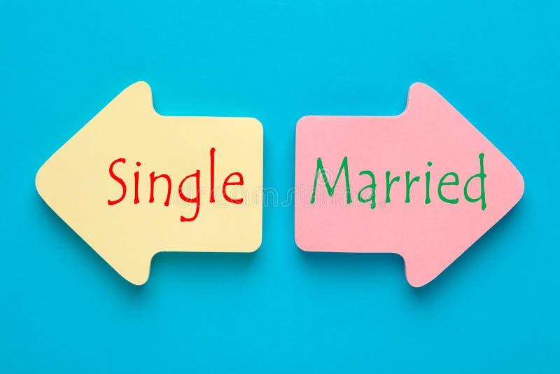 Ενιαίος και παντρεμένος στοκ εικόνα με δικαίωμα ελεύθερης χρήσης