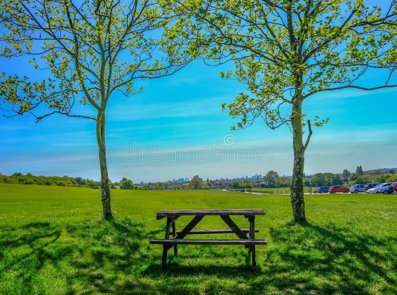 Ενιαίος κενός ξύλινος πίνακας πικ-νίκ που τίθεται μεταξύ δύο δέντρων στη χλόη που κοιτάζει προς την άποψη του Λονδίνου στοκ φωτογραφία με δικαίωμα ελεύθερης χρήσης