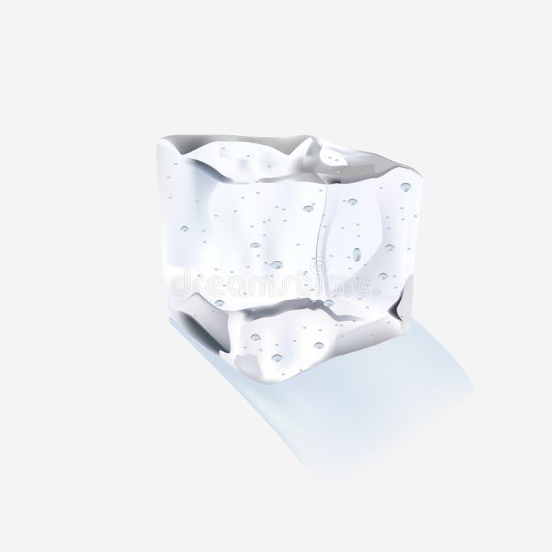 Ενιαίος κύβος πάγου που απομονώνεται σε ένα άσπρο υπόβαθρο επίσης corel σύρετε το διάνυσμα απεικόνισης στοκ εικόνες με δικαίωμα ελεύθερης χρήσης