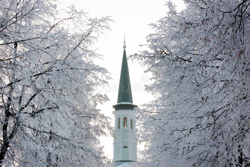 Ενιαίος πράσινος και άσπρος μιναρές χρώματος ενός μικρού μουσουλμανικού τεμένους το χειμώνα Δέντρα με την πάχνη και το χιόνι γύρω στοκ εικόνες