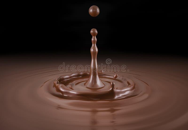 Ενιαίος υγρός παφλασμός πτώσης σοκολάτας στη λίμνη σάλτσας σοκολάτας στοκ εικόνα