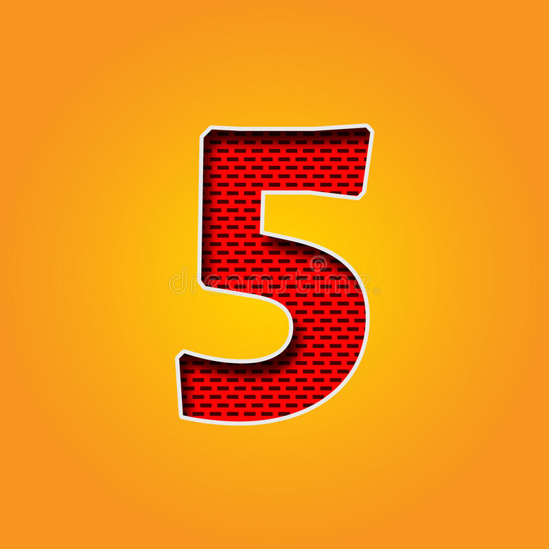 Ενιαίος χαρακτήρας 5 πηγή πέντε στο πορτοκαλί και κίτρινο αλφάβητο χρώματος απεικόνιση αποθεμάτων