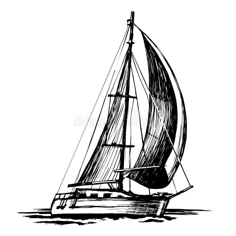 Ενιαίος-sailboat το διανυσματικό σκίτσο που απομονώθηκε διανυσματική απεικόνιση