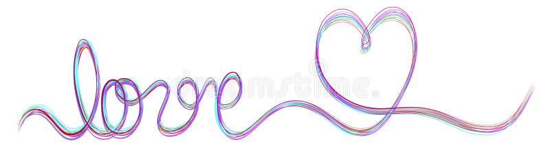 Ενιαίο έμβλημα κορδελλών χρώματος κτυπήματος πολυ με την αγάπη και την καρδιά λέξης απεικόνιση αποθεμάτων