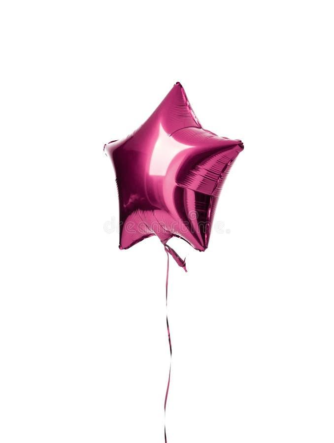 Ενιαίο ανοικτό μωβ μεταλλικό αντικείμενο μπαλονιών αστεριών για τη γιορτή γενεθλίων που απομονώνεται σε ένα λευκό στοκ φωτογραφίες με δικαίωμα ελεύθερης χρήσης