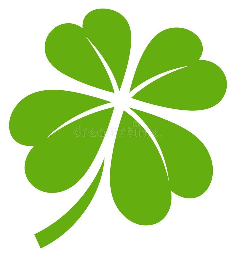Ενιαίο γραφικό τριφύλλι τέσσερα φύλλα πράσινα απεικόνιση αποθεμάτων