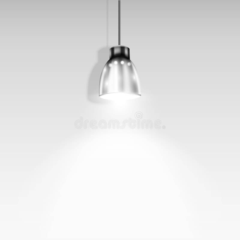 Ενιαίο επίκεντρο που φωτίζει τον άσπρο τοίχο. απεικόνιση αποθεμάτων
