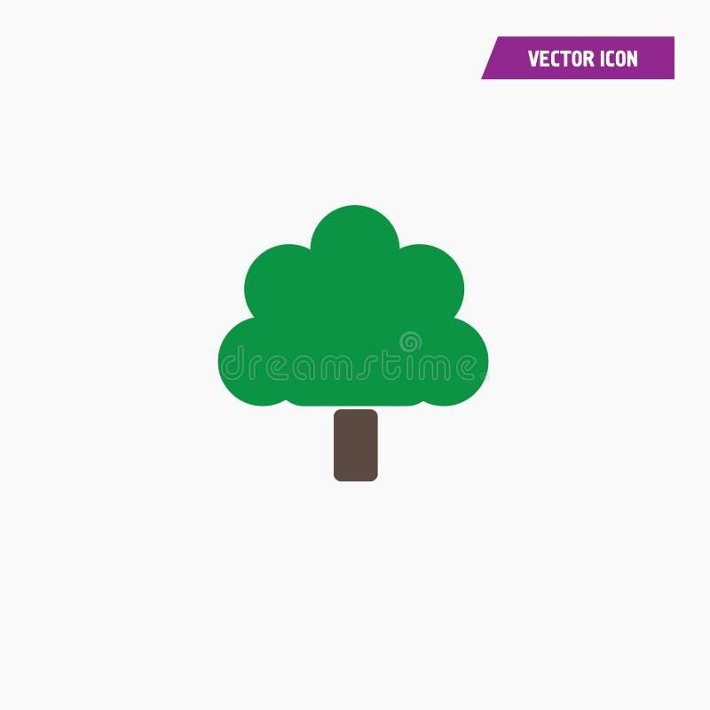 Ενιαίο επίπεδο πράσινο δρύινο διανυσματικό εικονίδιο δέντρων διανυσματική απεικόνιση