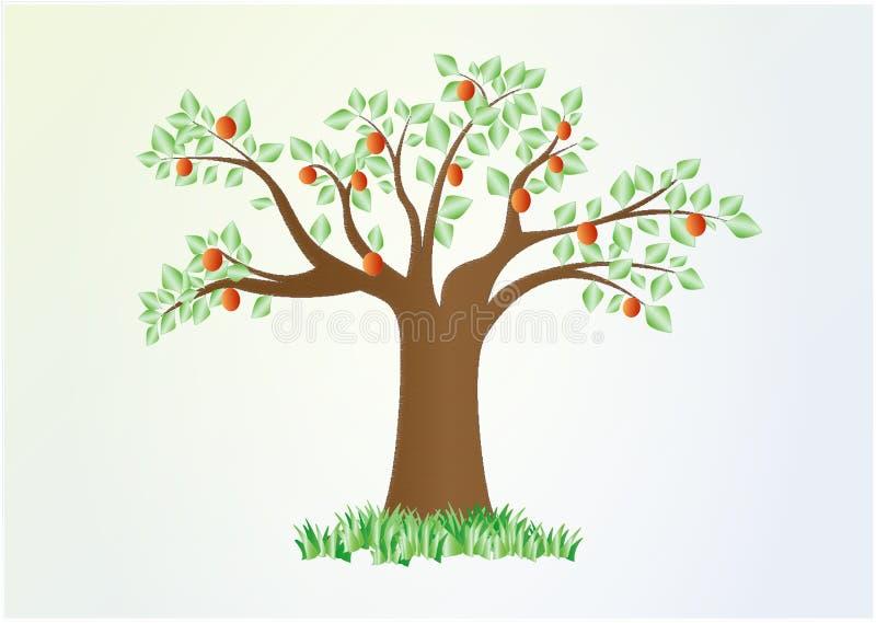 Ενιαίο θερινό δέντρο με τα πράσινα φύλλα και τα κόκκινα φρούτα, διανυσματικός, οριζόντια απεικόνιση αποθεμάτων