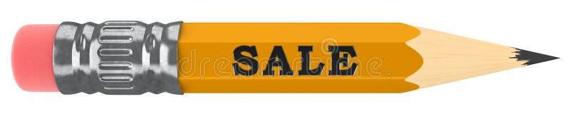 Ενιαίο κίτρινο μολύβι με την πώληση στο χαραγμένο κείμενο απεικόνιση αποθεμάτων
