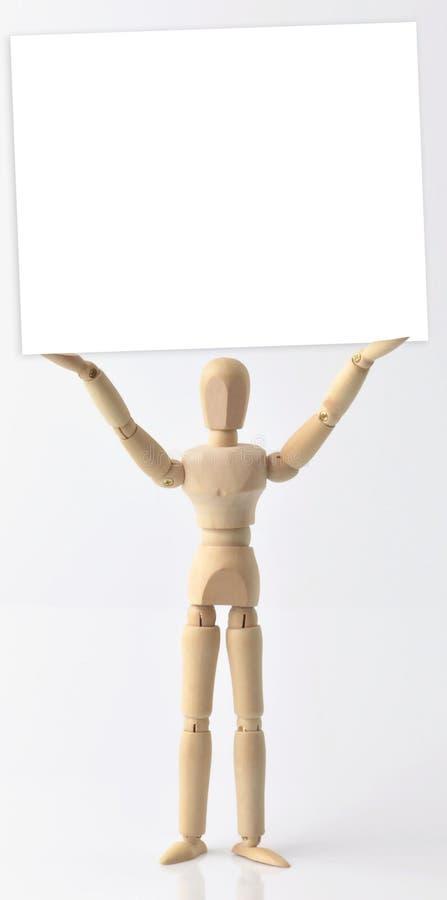 Ενιαίο ξύλινο ομοίωμα με την πινακίδα στοκ φωτογραφία με δικαίωμα ελεύθερης χρήσης