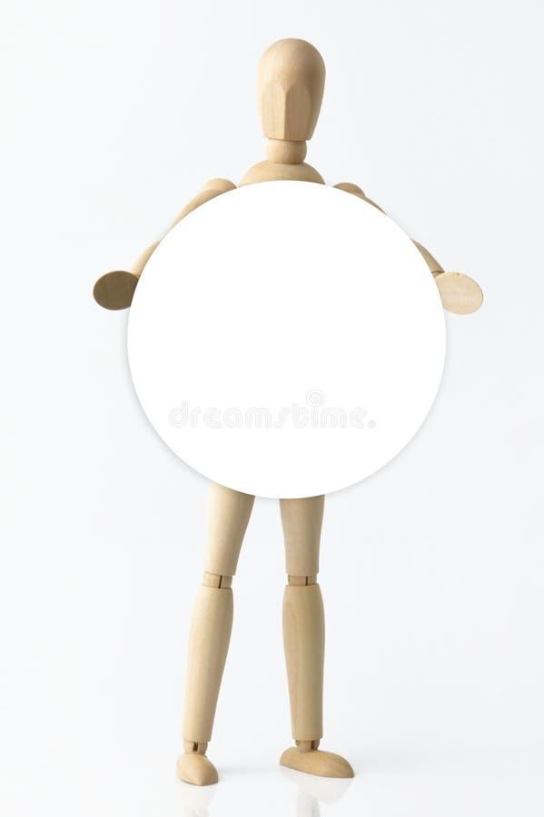 Ενιαίο ξύλινο ομοίωμα με την πινακίδα στοκ φωτογραφία