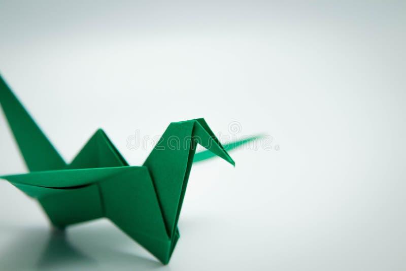 Ενιαίο πράσινο origami πουλιών που απομονώνεται άσπρο σε στενό στοκ εικόνα με δικαίωμα ελεύθερης χρήσης