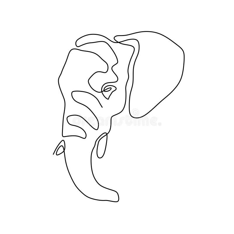 Ενιαίο συνεχές σχέδιο γραμμών της μεγάλης χαριτωμένης ταυτότητας επιχειρησιακών λογότυπων ελεφάντων απεικόνιση αποθεμάτων